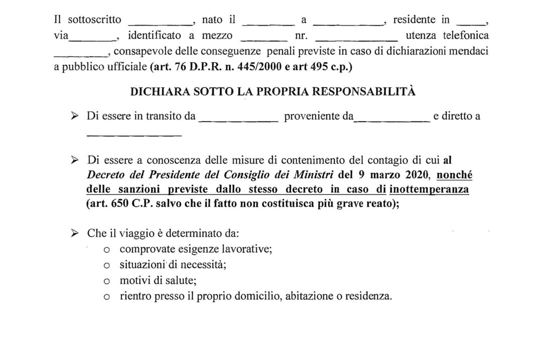 Modulo autodichiarazione Covid-19