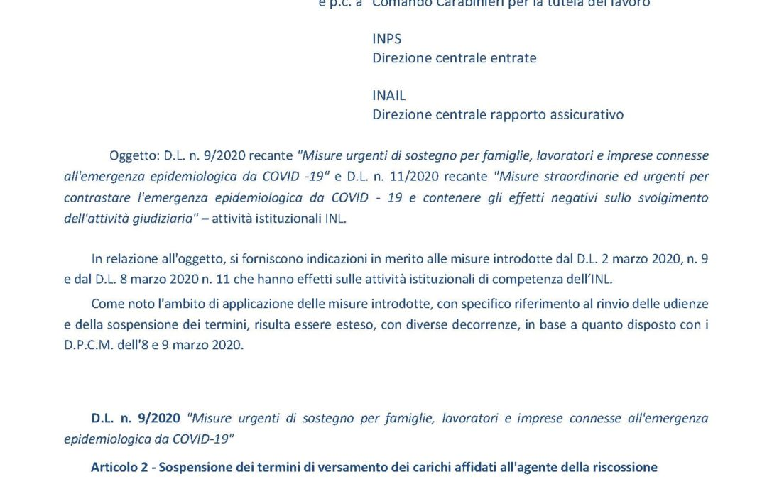 INL News sospensione termini versamenti contributi e tributi